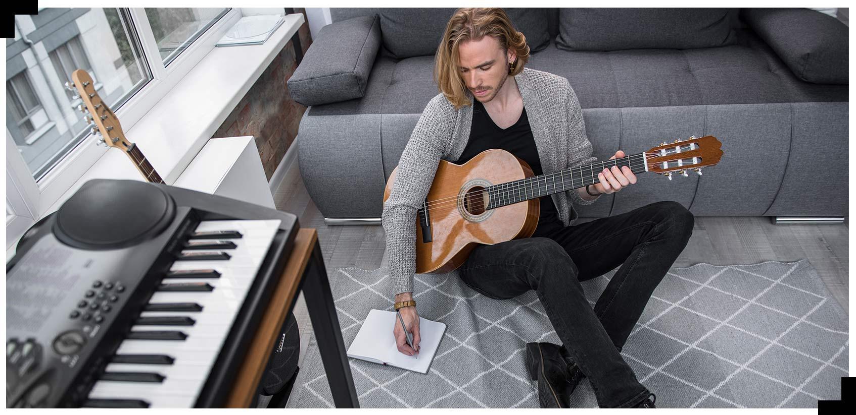 An artist with a guitar